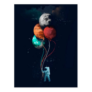 Spaceman With Planet Balloons Postcard