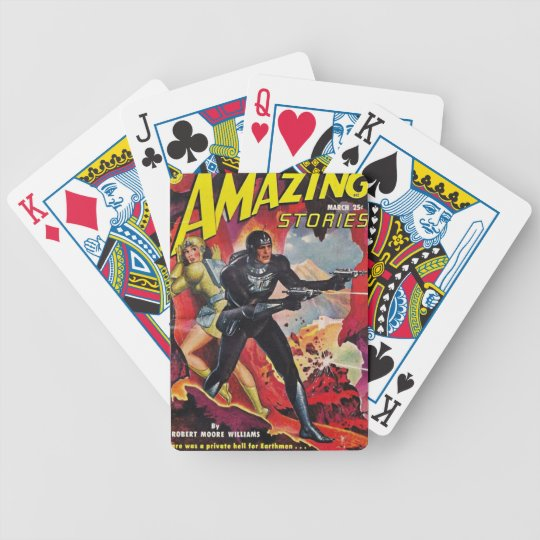Spaceman with Two Rayguns Bicycle Playing Cards