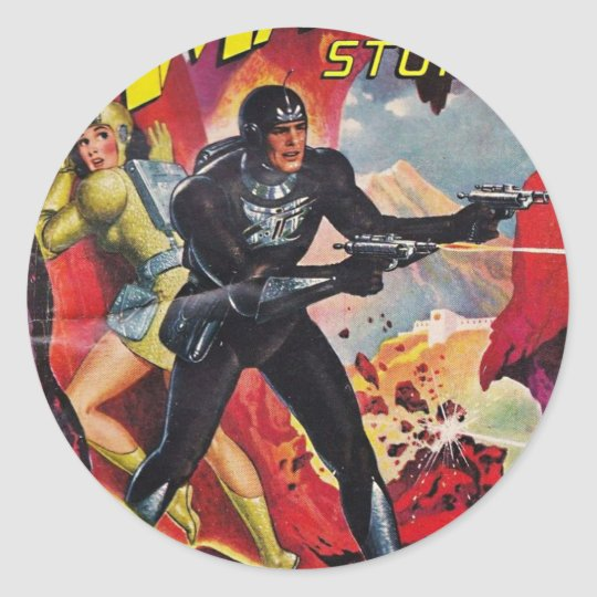 Spaceman with Two Rayguns Classic Round Sticker