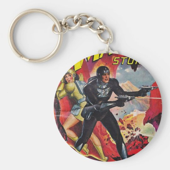 Spaceman with Two Rayguns Keychain