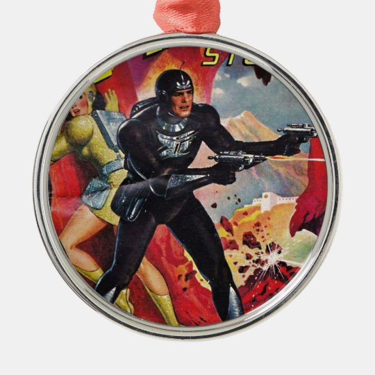 Spaceman with Two Rayguns Metal Ornament
