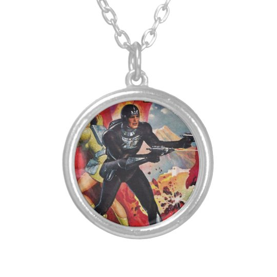 Spaceman with Two Rayguns Silver Plated Necklace