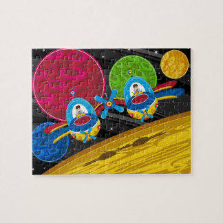 Spacemen Flying Spaceship over Planet Jigsaw Puzzle