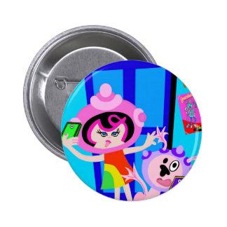 Spaceship Betty and Bubblegum Do a Selfie Pinback Button