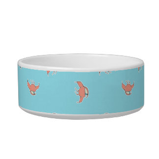 Spaceship Cartoon Pattern Drawing Cat Food Bowls