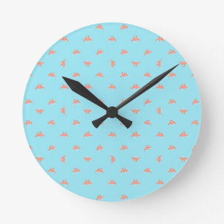 Spaceship Cartoon Pattern Drawing Round Clock