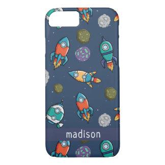 Spaceship Pattern custom name phone cases