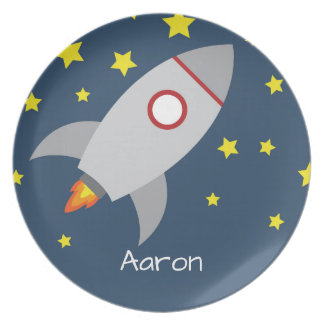 Spaceship Plate - Personalized with Name