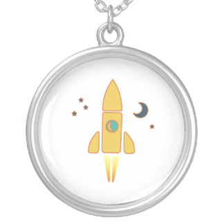Spaceship Silver Plated Necklace