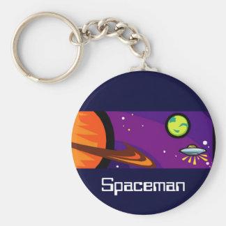 Spaceship to Saturn Basic Round Button Keychain