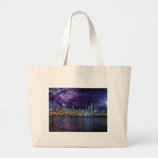 Spacey Chicago Skyline Large Tote Bag