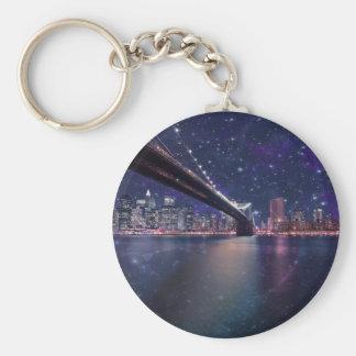 Spacey Manhattan Skyline Basic Round Button Keychain