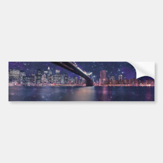 Spacey Manhattan Skyline Bumper Sticker