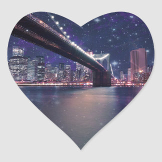 Spacey Manhattan Skyline Heart Sticker