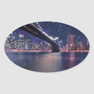 Spacey Manhattan Skyline Oval Sticker