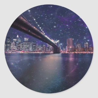 Spacey Manhattan Skyline Round Sticker