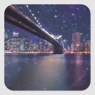 Spacey Manhattan Skyline Square Sticker