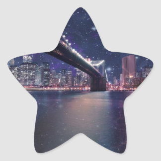 Spacey Manhattan Skyline Star Sticker