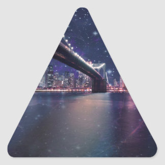 Spacey Manhattan Skyline Triangle Sticker