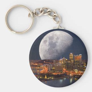 Spacey Pittsburgh Basic Round Button Keychain