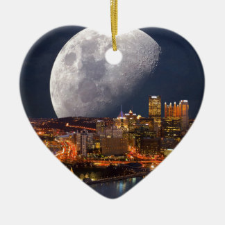 Spacey Pittsburgh Ceramic Heart Ornament