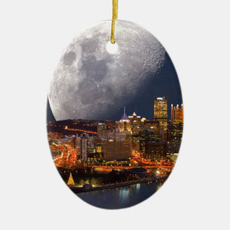 Spacey Pittsburgh Ceramic Oval Ornament