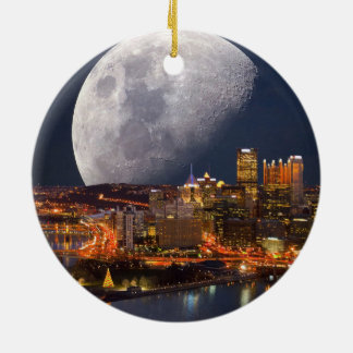 Spacey Pittsburgh Round Ceramic Ornament