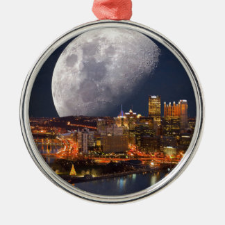 Spacey Pittsburgh Silver-Colored Round Ornament