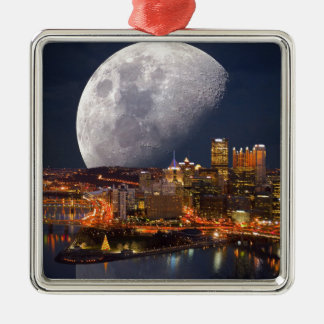 Spacey Pittsburgh Silver-Colored Square Ornament