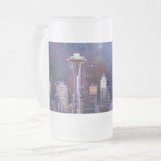 Spacey Seattle Frosted Glass Beer Mug