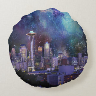 Spacey Seattle Round Pillow