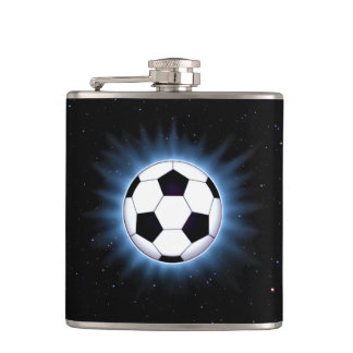 Spacey Soccer Ball 6 oz Vinyl Wrapped Flask