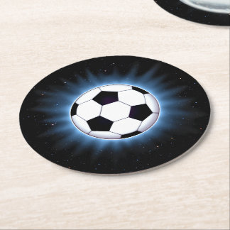 Spacey Soccer Ball Round Paper Coaster