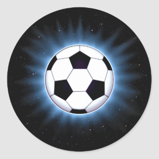 Spacey Soccer Ball Round Stickers