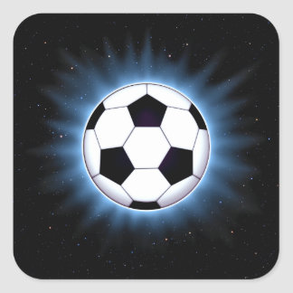 Spacey Soccer Ball Square Stickers