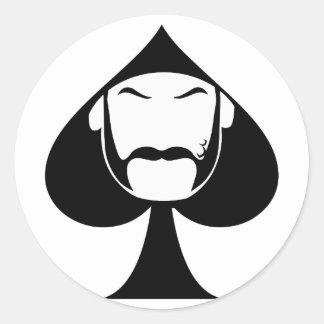 Spade Man Round Sticker