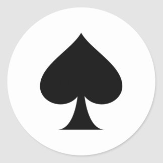 Spade symbol round sticker