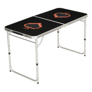 Spades Flames Beer Pong Table