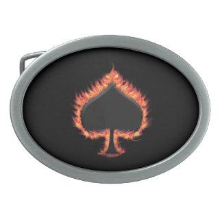 Spades Flames Oval Belt Buckle