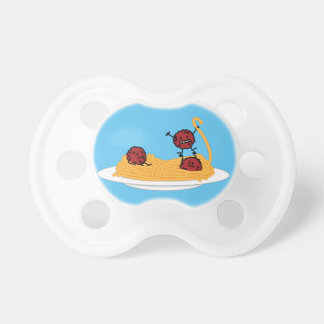 Spaghetti and meatballs pasta noodles Italian food Baby Pacifier