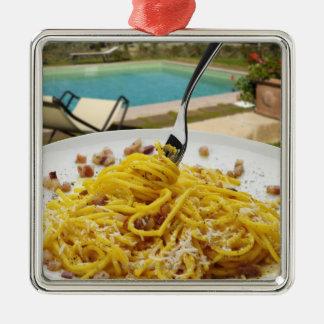 Spaghetti Carbonara Silver-Colored Square Ornament