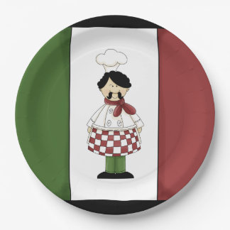 Spaghetti dinner Italian chef paper plates
