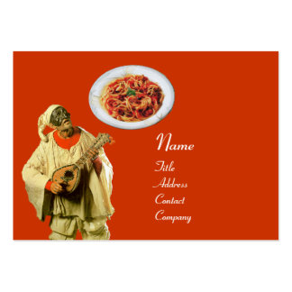 SPAGHETTI & MANDOLIN ITALIAN KITCHEN,black orange Pack Of Chubby Business Cards