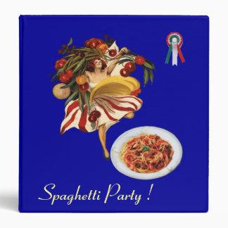 SPAGHETTI PARTY DANCE ITALIAN KITCHEN RECIPE BOOK VINYL BINDERS
