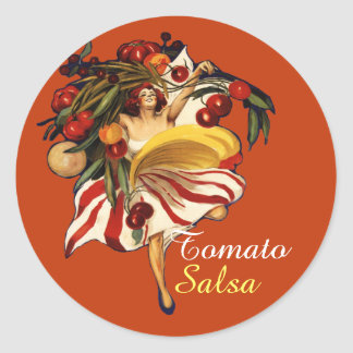 SPAGHETTI PARTY DANCE,ITALIAN KITCHEN TOMATO SALSA ROUND STICKER