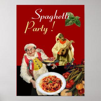 SPAGHETTI PARTY,Italian Kitchen,Chef,Pulcinella Poster