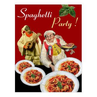 SPAGHETTI PARTY,Italian Kitchen Chef Recipe Red Postcard