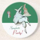 SPAGHETTI PARTY, ITALIAN KITCHEN ,red green white Coaster