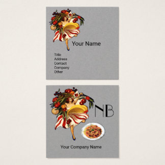 SPAGHETTI PARTY TALIAN KITCHEN TOMATOES Grey Square Business Card