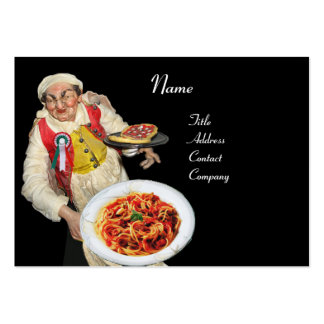 SPAGHETTI & PIZZA PARTY  ITALIAN KITCHEN,black red Large Business Card